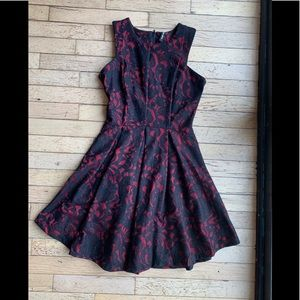 Black and Red Lace Skater Dress